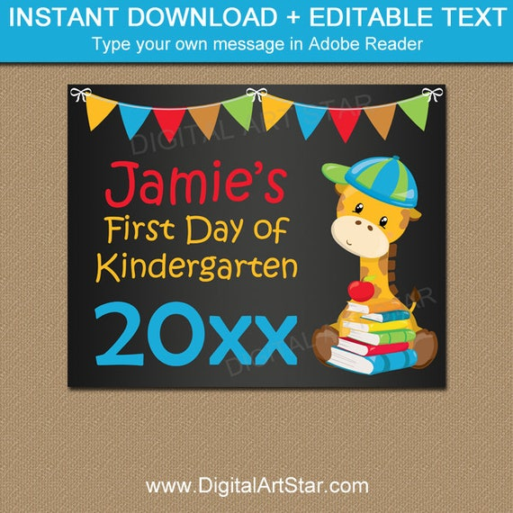 printable first day of kindergarten sign chalkboard sign first day