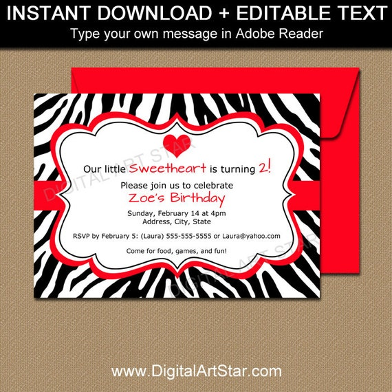 Zebra Party Invitations