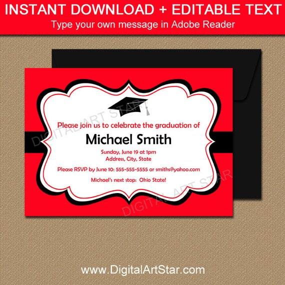 printable graduation invitation template black red high school etsy