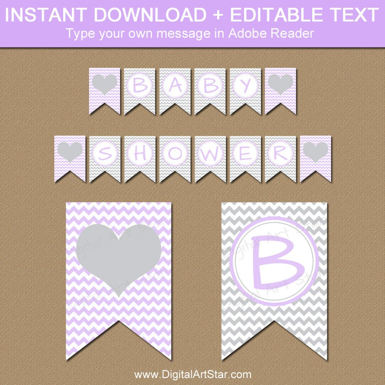 graphic regarding Baby Shower Banner Printable titled Lavender and Gray Kid Shower Banner, PRINTABLE Boy or girl Banner, Occasion Components, EDITABLE Its a Lady Banner Template Lavender and Grey Decor BB1