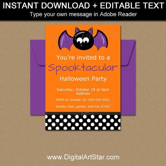 bat invitation kids halloween party invitation cute etsy