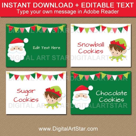Christmas Place Cards, Santa Labels, Santa Food Labels