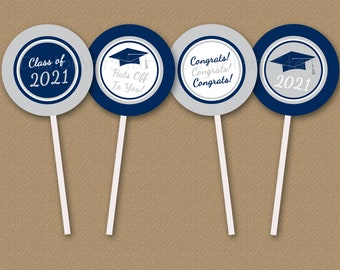 Graduation Party Decorations 2021, Printable Graduation Cupcake Toppers Navy Blue and Silver, Graduation Cupcake Picks Instant Download G2