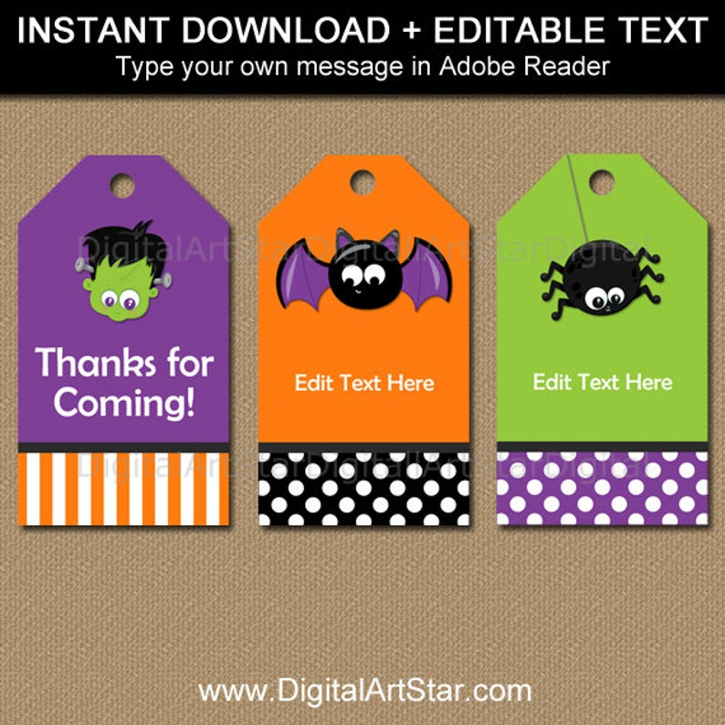 Printable Gift Tags for Halloween - Halloween Tags Editable - Kids  Halloween Tags - Instant Download Favor Tags - Thank You Tag Template HF