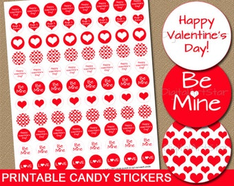 Valentines Day Candy Labels - Printable Party Favors Valentine Candy Stickers Valentine Gift - Chocolate Drop Labels - Instant Download V7