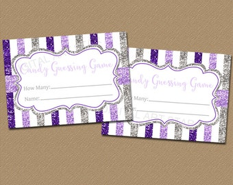 Girl Baby Shower Candy Guessing Game, Girl Baby Shower Game, Purple Baby Shower Ideas, Purple and Gray Baby Shower, Glitter Baby Shower B4