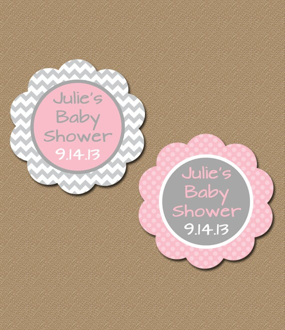 Personalized Baby Shower Party Favor Tags Printable Pink Gray