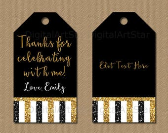 Birthday Glitter Tags, Black Gold Party Favor Tags, 50th Birthday Tags, Golden Anniversary Hang Tags, Printable Thank You Tag Template B4