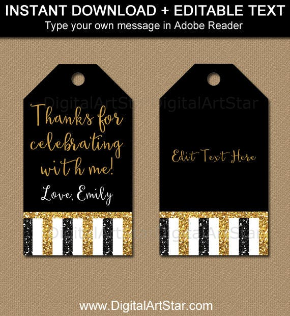 birthday glitter tags black gold party favor tags 50th birthday