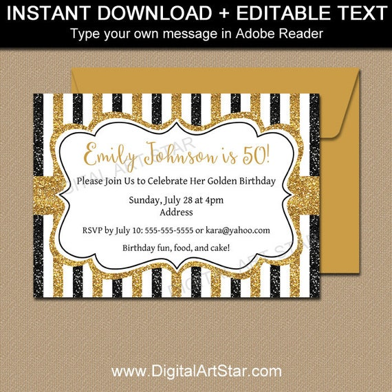 50th Birthday Party Invitation Black And Gold Glitter