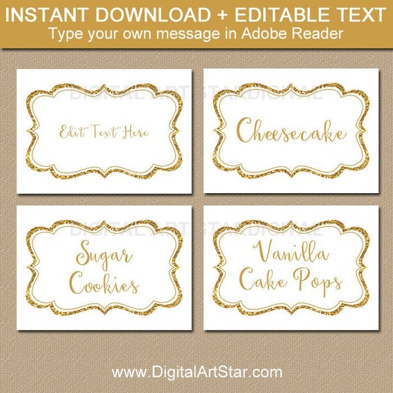 photo relating to Gold Printable Place Cards named 50th Anniversary Labels, Sweet Buffet Label, Gold Wedding day