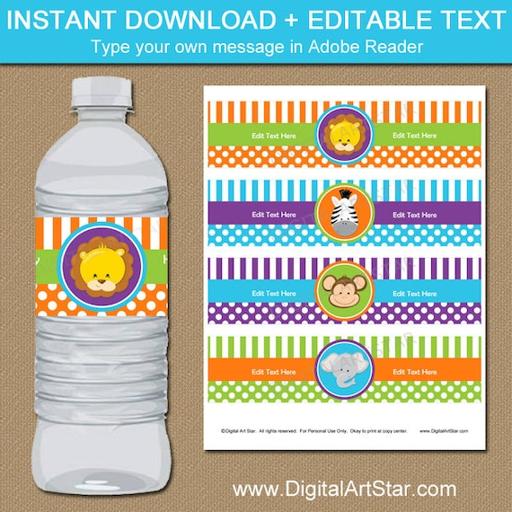 Jungle Water Bottle Labels Baby Shower Decorations