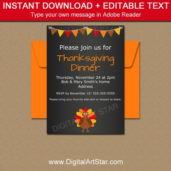 Thanksgiving Chalkboard Invitation Template