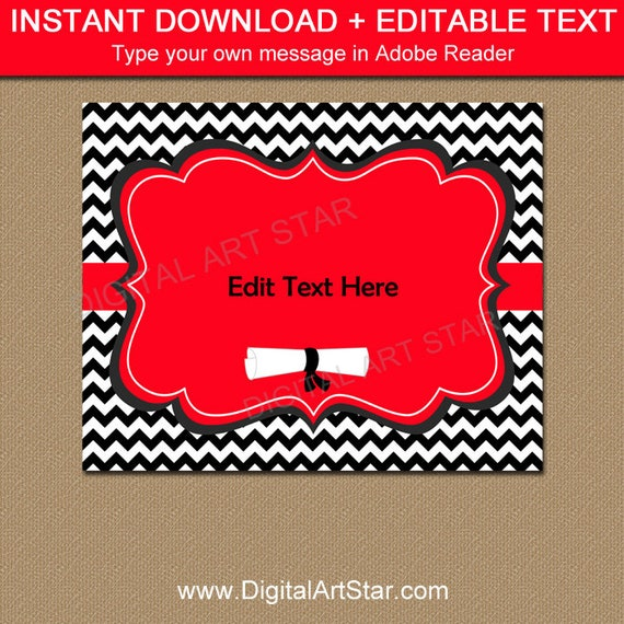 Congrats Grad Sign Red Black And White Graduation Printable Sign