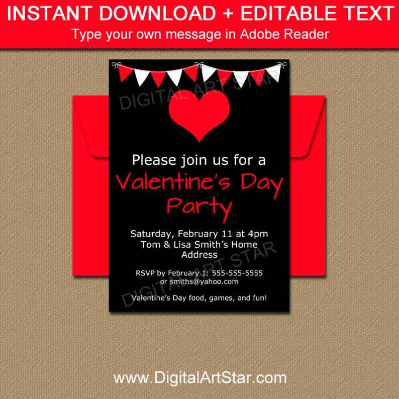 Black And Red Valentines Day Party Invitation Template