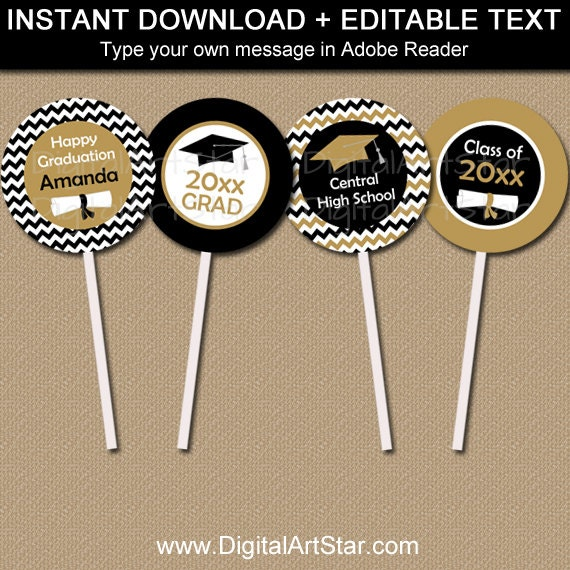 Graduation Cupcake Topper Printable - EDITABLE Class of ...