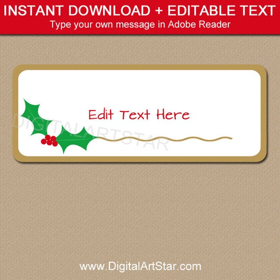 christmas address labels holly address label template printable