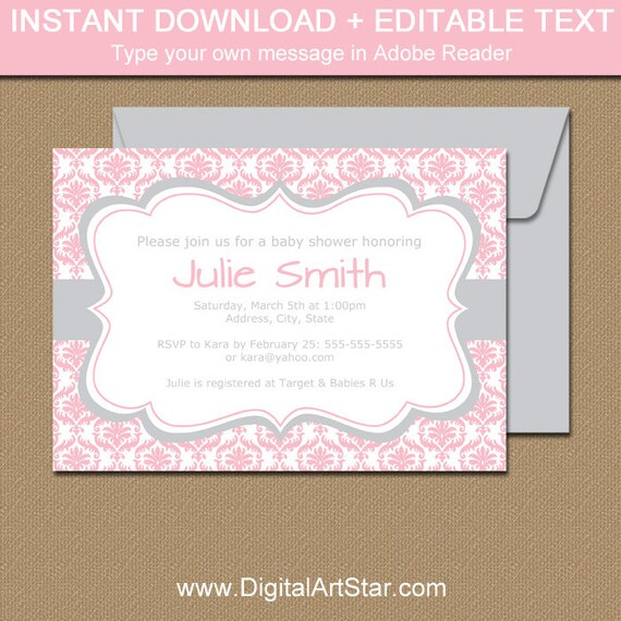 Pink And Silver Baby Shower Invitation Template Pink And Etsy