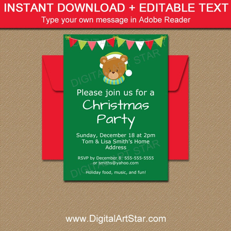 Cute Christmas Party.Kids Christmas Party Invitation Holiday Invitation Template Cute Christmas Invite Editable Christmas Invitation Winter Invitation C2