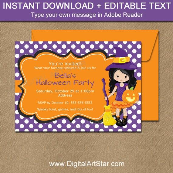 girl halloween invitation template printable halloween party etsy