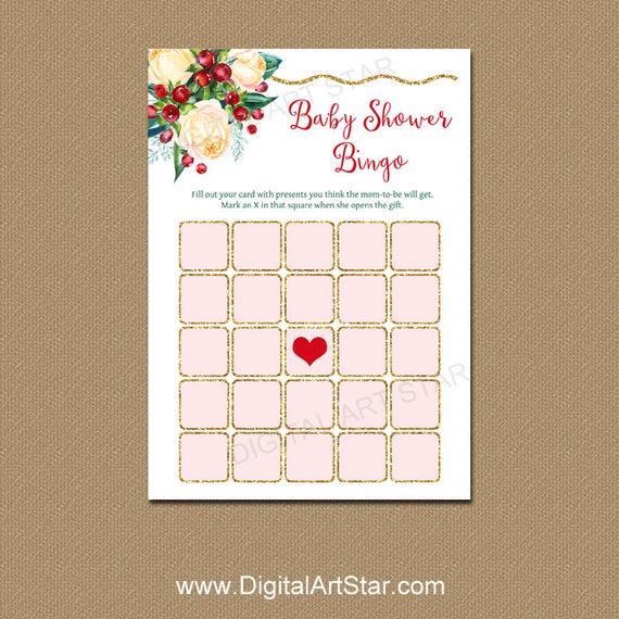 Baby Shower Bingo Floral Baby Shower Games Christmas Baby Shower