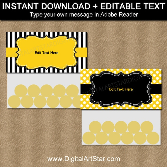 Black And Yellow Treat Bag Toppers 50th Birthday Printables Adult Party Favors 65th Ideas 80th Favor B3