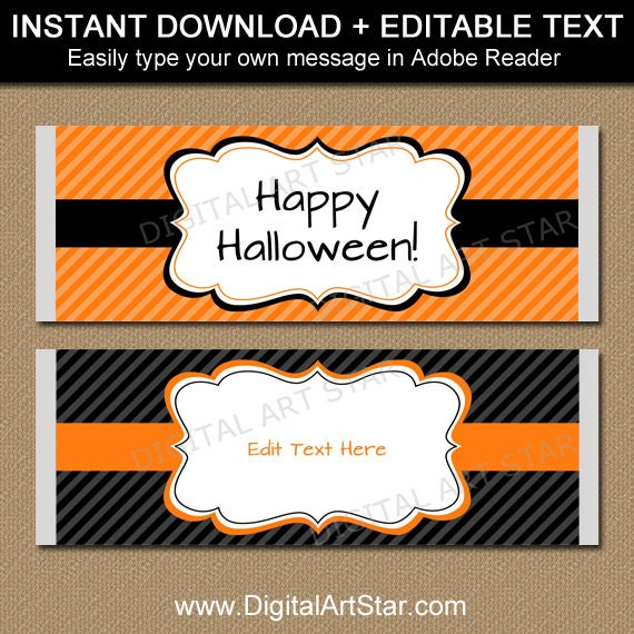 Halloween Candy Bar Wrappers Printable Black And Orange Etsy