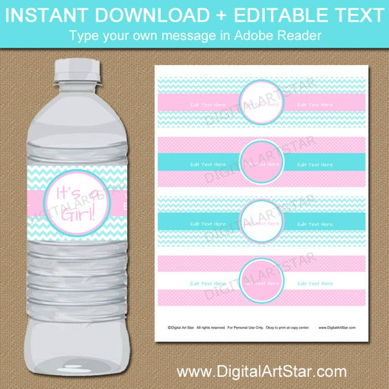 Pink And Aqua Baby Shower Water Bottle Label Template Etsy