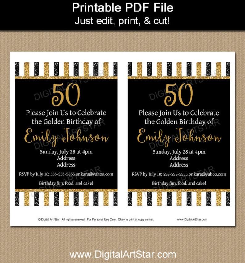 Printable 50th Birthday Invitation Template Glitter Editable Invite Milestone Anniversary B4