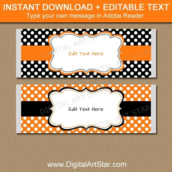 Printable Candy Bar Labels Black Orange BB1 Halloween Candy Bar Wrapper Template Chocolate Bar Wrappers Birthday Halloween Party Favors