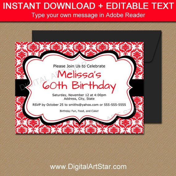 Red And Black Invitation Template EDITABLE Birthday Printable Invite Instant Download