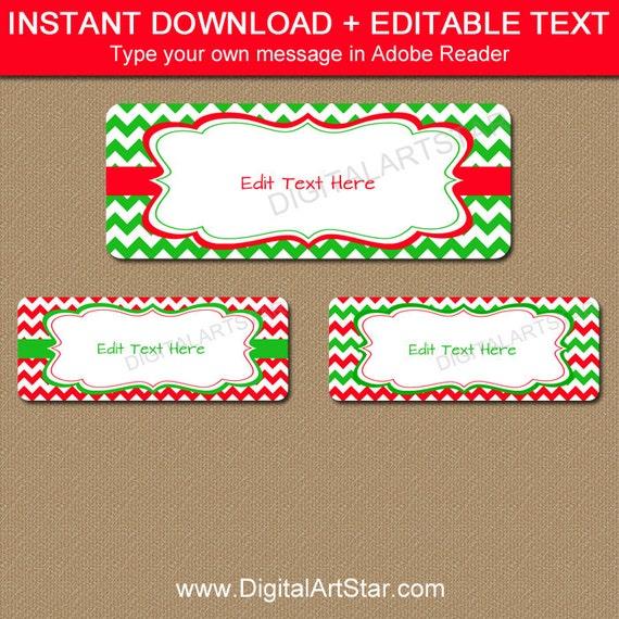 Printable Christmas Address Labels EDITABLE Holiday
