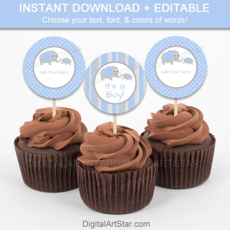 Elephant Cupcake Toppers  Printable Boy Baby Tags  image 1