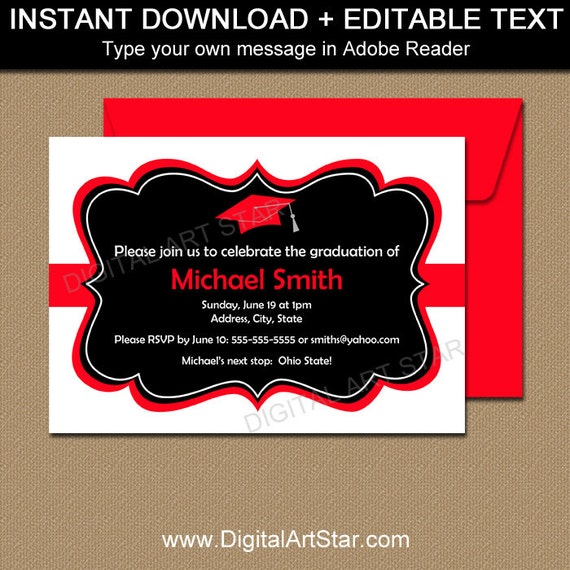 Graduation invitation instant download black red graduation etsy image 0 filmwisefo