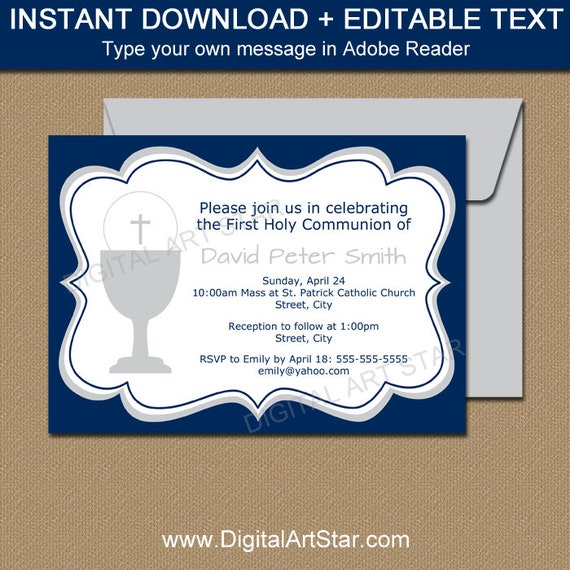 Boy First Communion Invitations Boy Communion Invite Editable Pdf