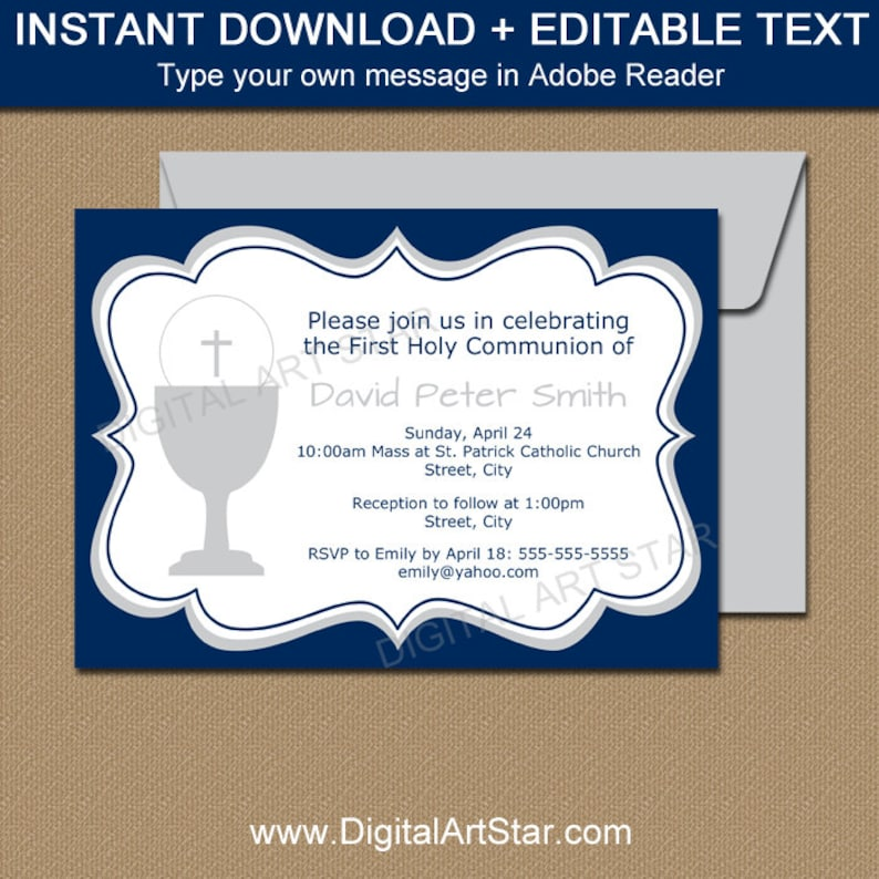 Boy First Communion Invitations Boy Communion Invite Etsy