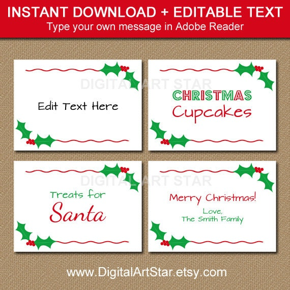 This is an image of Printable Christmas Place Cards in downloadable