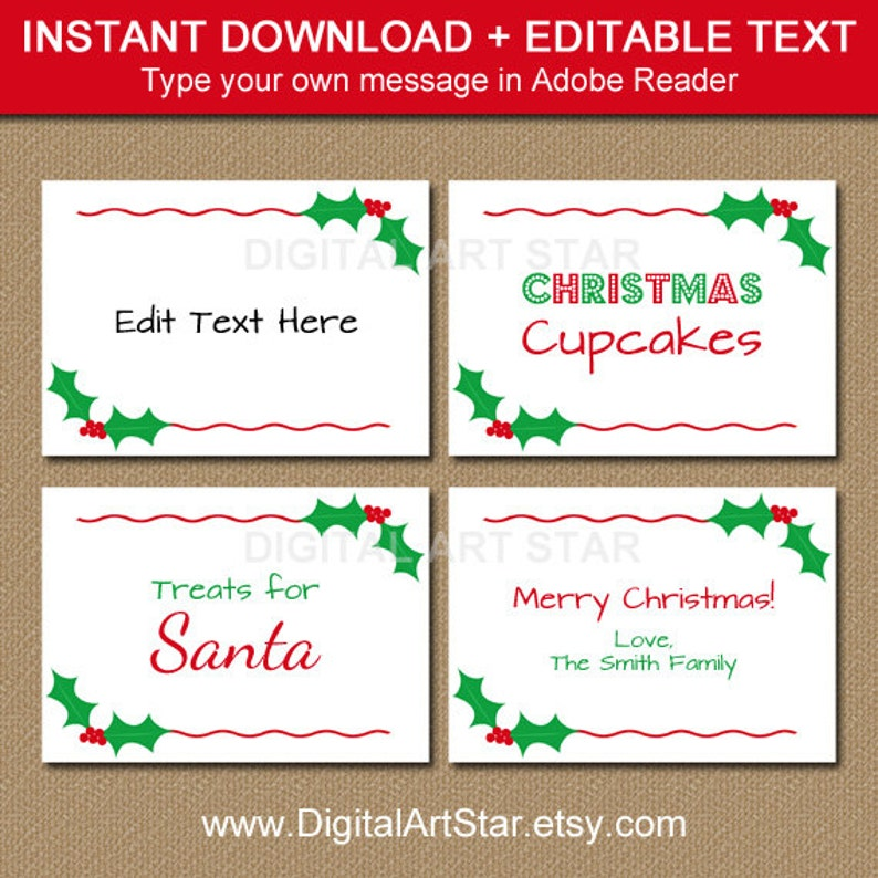 picture regarding Printable Christmas Labels named Printable Xmas Labels, Tent Playing cards, Getaway Room Playing cards, Buffet Playing cards, Xmas Meals Labels, Foods Tags Fast Obtain Pink Environmentally friendly Holly