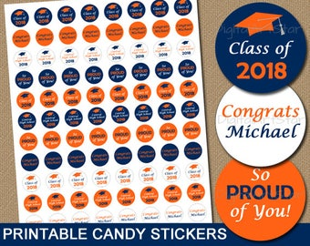 Personalized Graduation Party Favors, High School Graduation Candy Stickers, Graduation Candy Buffet Printable, 2018 Graduation Stickers G6