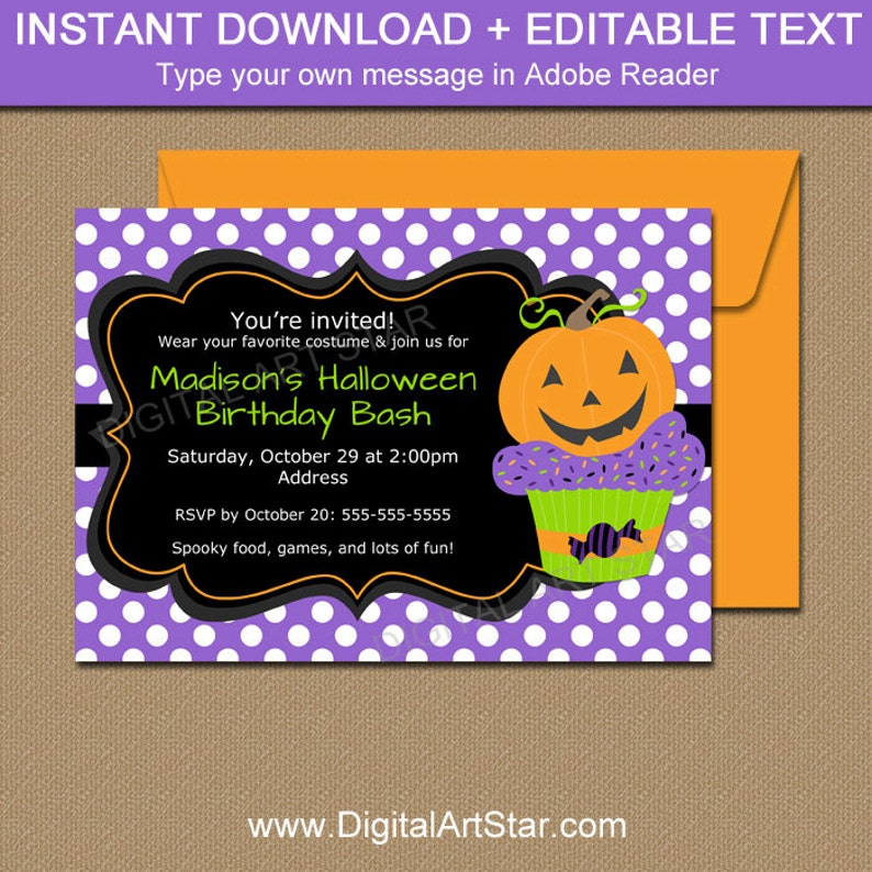 Pumpkin BIRTHDAY Invitation Halloween Birthday