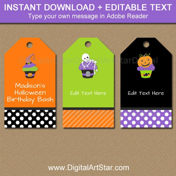 halloween birthday tags kids halloween tags printable etsy