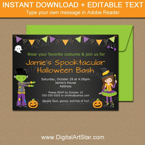 halloween party invitation halloween costume party invitation