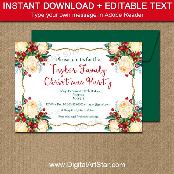 christmas party invitation template holiday party invite download