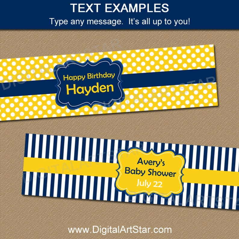 Boy Birthday Party Ideas Boy Baby Shower Decorations Navy Blue and Yellow Party Decorations Water Bottle Labels Family Reunion B3