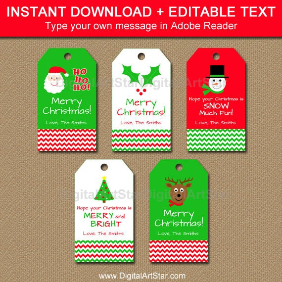 Editable xmas gift tags
