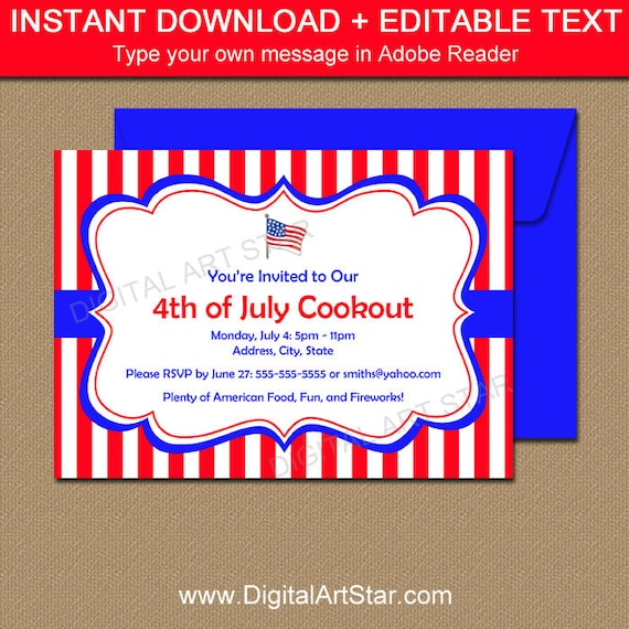 image regarding Free Printable Cookout Invitations known as Patriotic Invites - Cookout Invitations - Printable 4th of