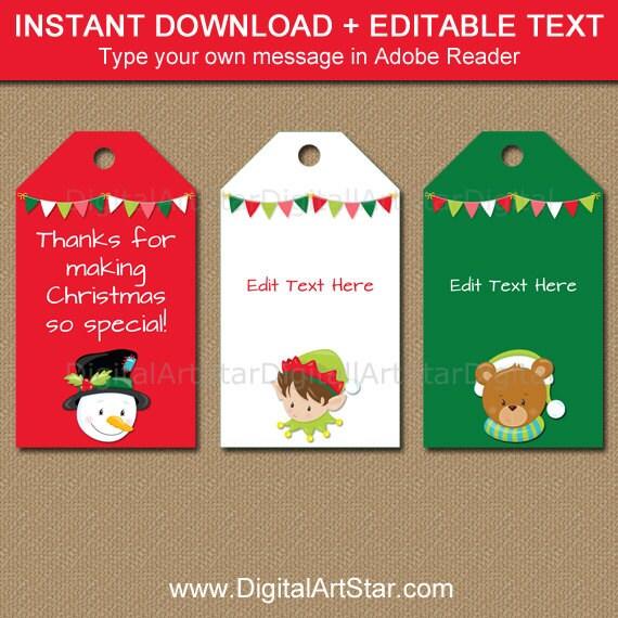 image about Printable Christmas Tags named Printable Xmas Tags - EDITABLE Xmas Occasion Like