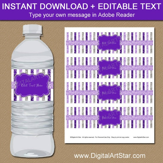 Purple And Silver Wedding Water Bottle Labels Printable 60th
