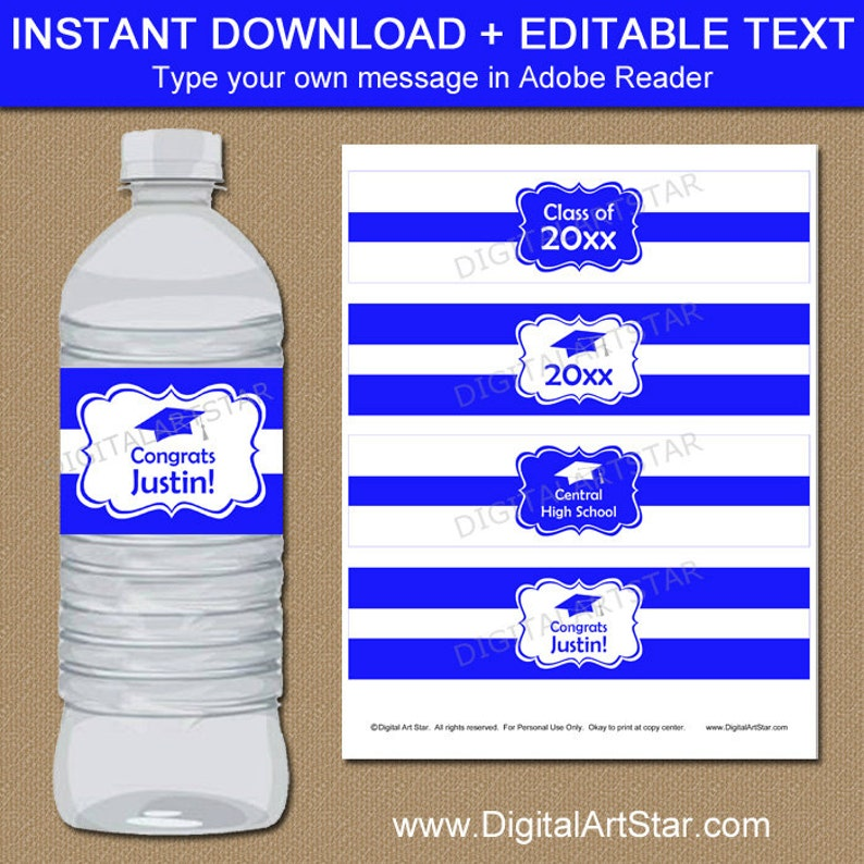 graphic relating to Free Printable Graduation Labels identified as Significant College or university Commencement Drinking water Bottle Labels, Higher education Commencement Decorations, Royal Blue Large University Commencement Get together Decoration 2019 G1