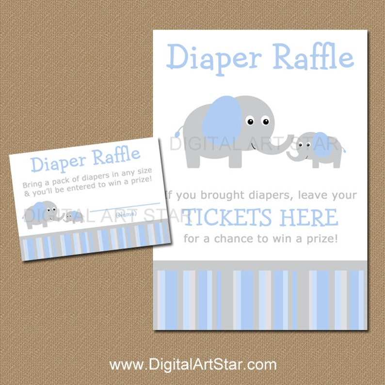 Elephant Diaper Raffle Tickets and Sign  Printable Blue and image 0